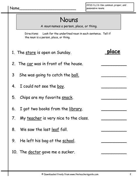 Nouns Grade 1 Worksheets  Google Search  Mohit  1st Grade Worksheets, Grade 1, Grammar
