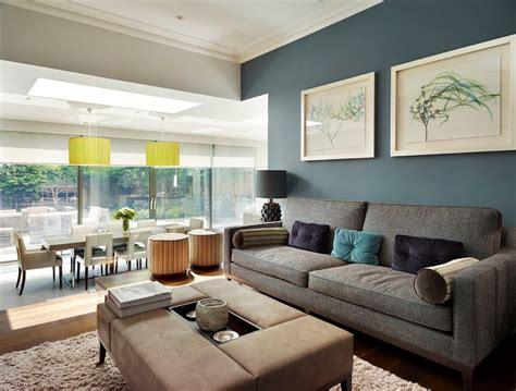 blue grey yellow living room contemporary  feature