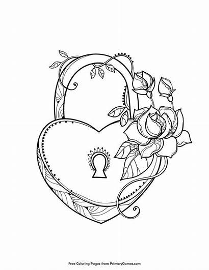 Coloring Pages Heart Lock Printable Valentine Valentines