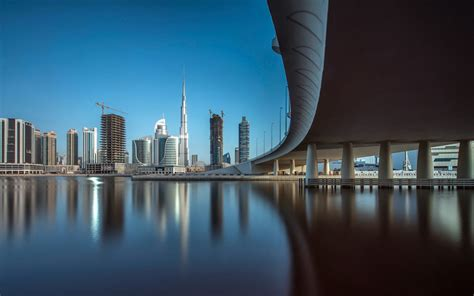 wallpaper downtown dubai cityscape reflections