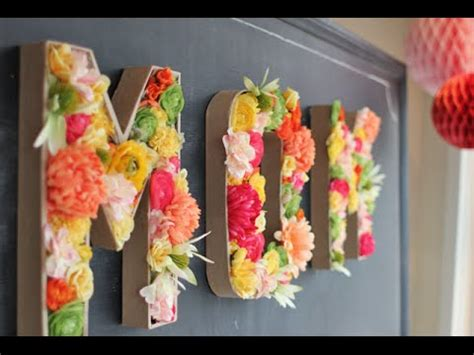 diy room decor floral monogram letters youtube