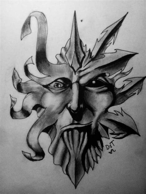 Demon Face Tattoo Drawing Demon face tattoo design by