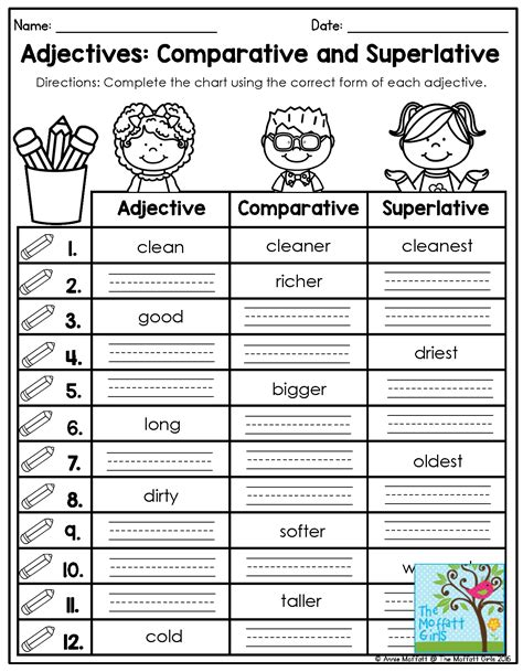 adjectives no prep packet chart activities and students
