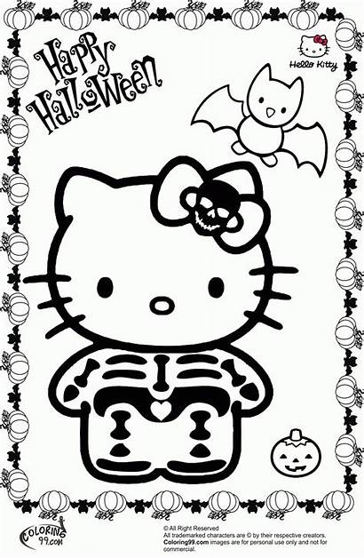 Kitty Halloween Hello Coloring Pages Scary Colouring