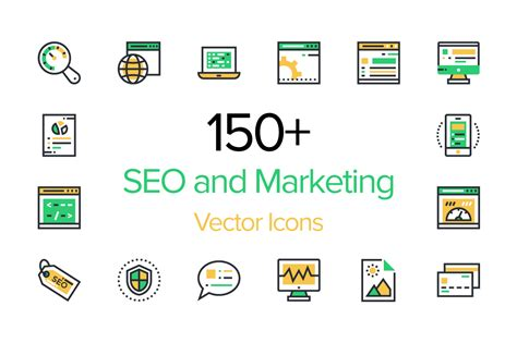 Seo And Marketing by 150 Seo And Marketing Icons Creative Stall