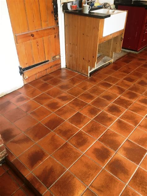 Very Dirty Quarry Tiled Kitchen Floor Restored in