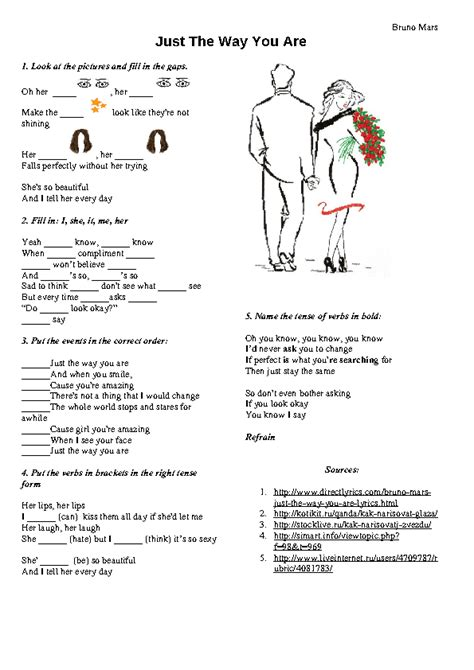 the way worksheet song worksheet just the way you are by bruno mars
