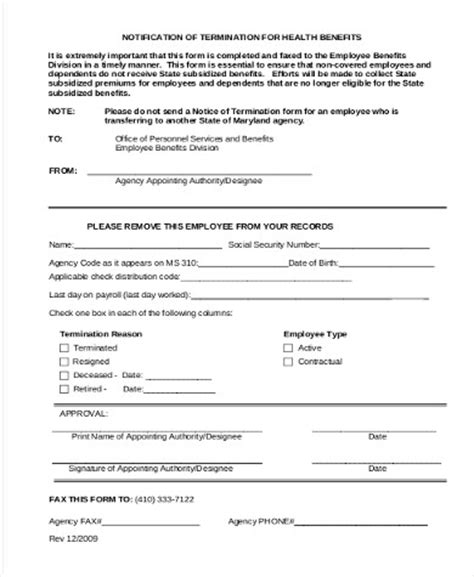 termination of employment form template 8 sle employee termination forms sle templates