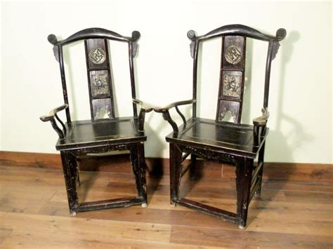 Antique Chinese High Back Arm Chairs 5569 Pair Circa
