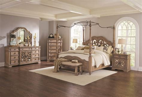 4 Piece Coaster Ilana Canopy Bedroom Set Antique Linen