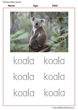 tracing words australian animals aussie childcare network