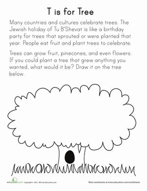 t is for tree worksheet education com
