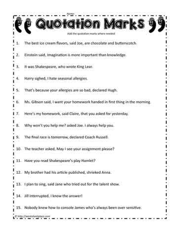 All Worksheets » Quotation Mark Worksheets  Printable Worksheets Guide For Children And Parents