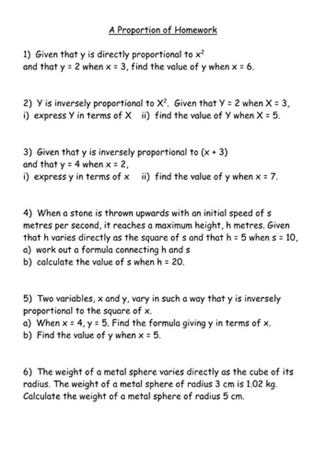 direct and inverse proportion handout by mrbuckton4maths