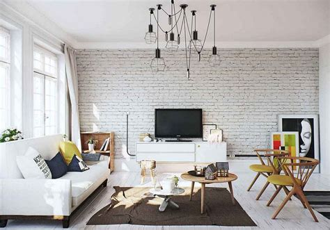 Brick-accent-wall-in-the-scandinavian-living-room