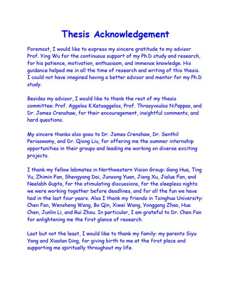 Frequently asked questions about acknowledgements. Thesis Acknowledgement Example For Research Paper - Thesis ...