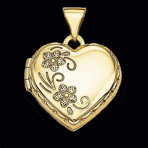 gold floral heart locket