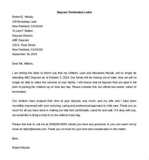 employee termination letter   word  documents