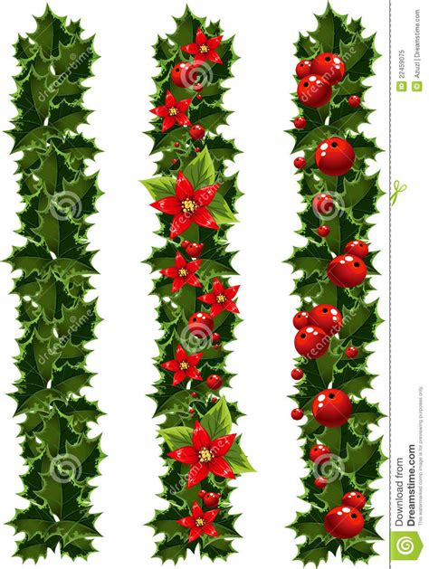 green christmas garlands  holly stock illustration