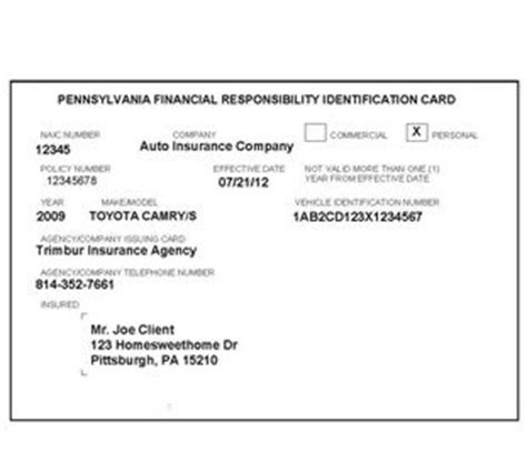insurance auto insurance identification card