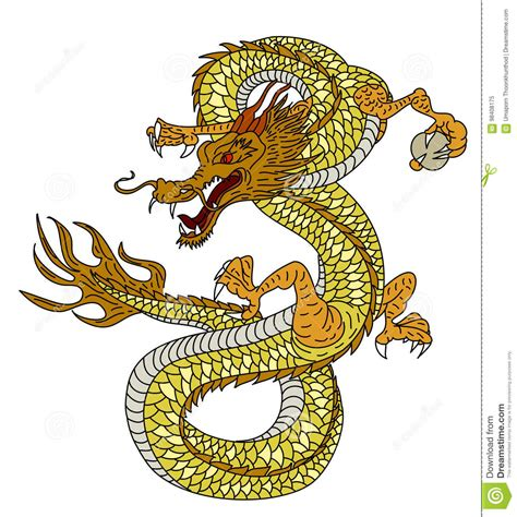 hand drawn gold dragon japanese tattoo style  white background stock vector illustration