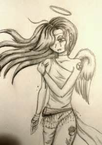 Sad Anime Angel Girl Drawings
