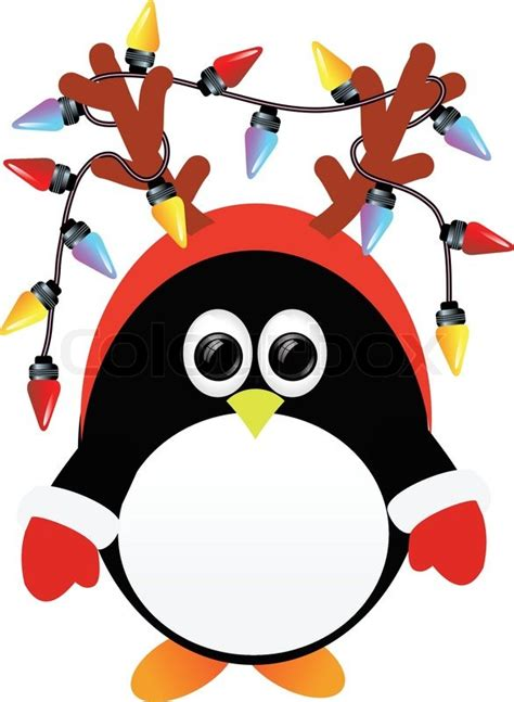 christmas light penguin stock vector colourbox
