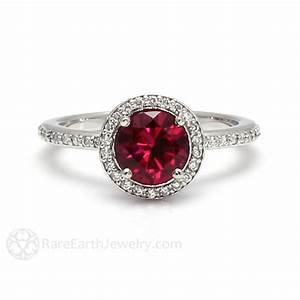 Ruby Engagement Ring Diamond Halo July Birthstone – Rare ...