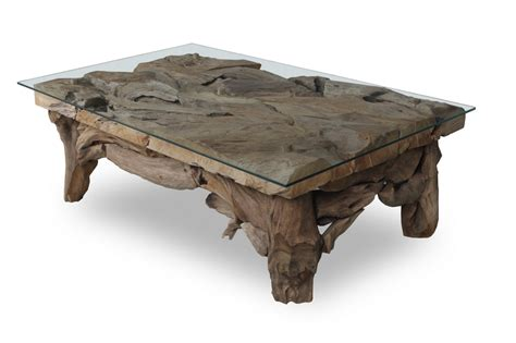 Round teak root coffee table. Rectangle teak root coffee table with glass top - TEAKROOT FURNITURE