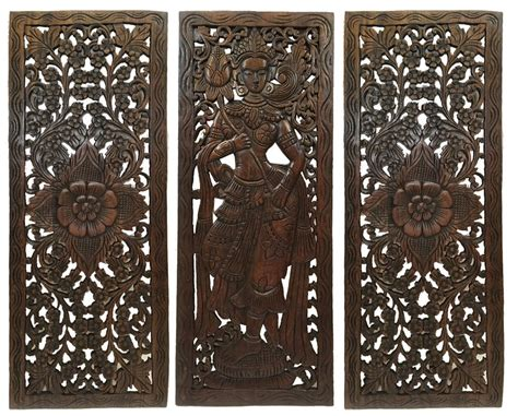 Lotus flower teak wood hand carved home decor wall panel. Multi Panels Oriental Home Decor. Wood Carved Floral Wall Art. Bali Ho - Asiana Home Decor