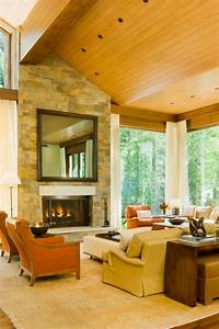 transitional living room with fireplace and high