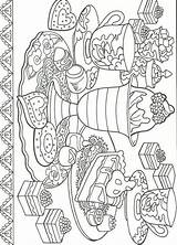 Coloring Dessert Adult Printable Desserts Sheets Blank Mandala Pigs sketch template