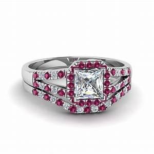 Halo princess cut diamond split shank wedding set with for Princess cut pink diamond wedding rings