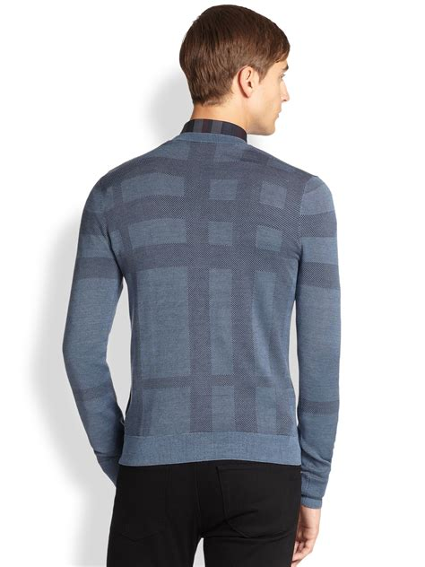 mens burberry sweater lyst burberry elmhurst check sweater in blue for