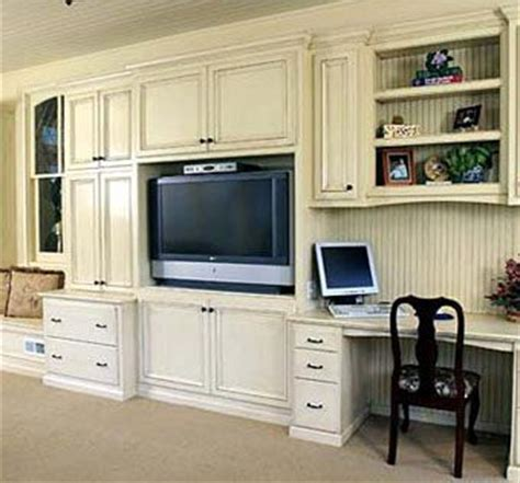 built in wall unit with desk and tv handmade custom built ins with antique glaze by artisan
