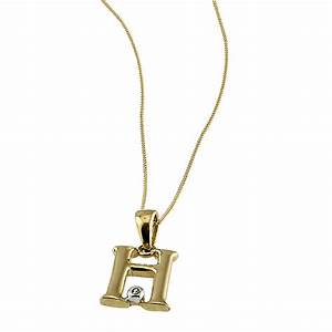 9ct gold cubic zirconia set letter h pendant with 16 With letter h necklace gold