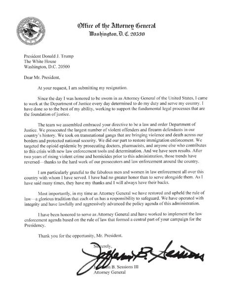 Sessions' resignation letter | | columbustelegram.com