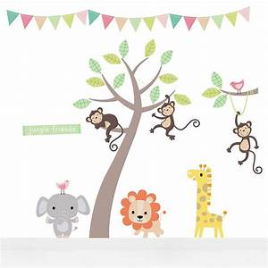 Pastel jungle animal wall stickers wall sticker nursery for Nice safari wall decals for nursery