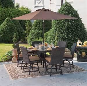 outdoor furniture patio dining set wicker rattan 7pc balcony height swivel deck ebay