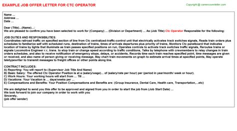 ctc operator offer letter sample