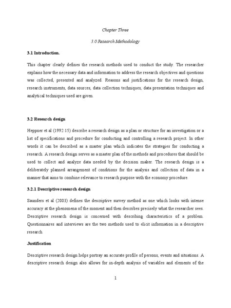 Sampling methods to consider for your study design. Chapter Three 3.0 Research Methodology 3.1 Introduction ...