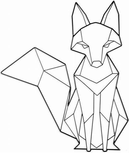 Geometric Fox Drawing Animal Line Rev Polygon