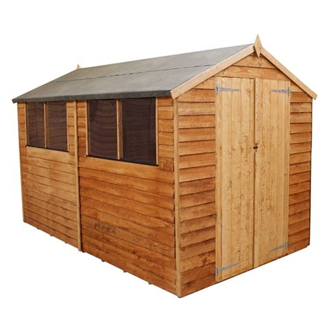 10 x 6 shed homebase mercia light brown overlap apex wooden shed doors