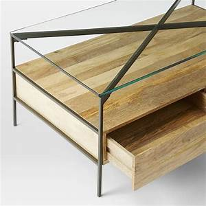 glass topped industrial storage coffee table west elm With west elm glass coffee table
