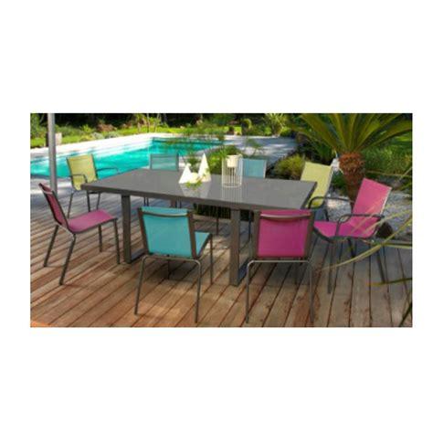 Salon de jardin BRECIA 6 places en aluminium et textilu00e8ne couleur lime - Proloisirs