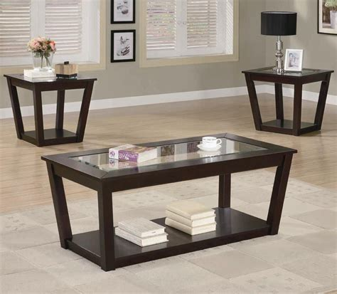Fenmore Brown Glass Coffee Table Set Stealasofa