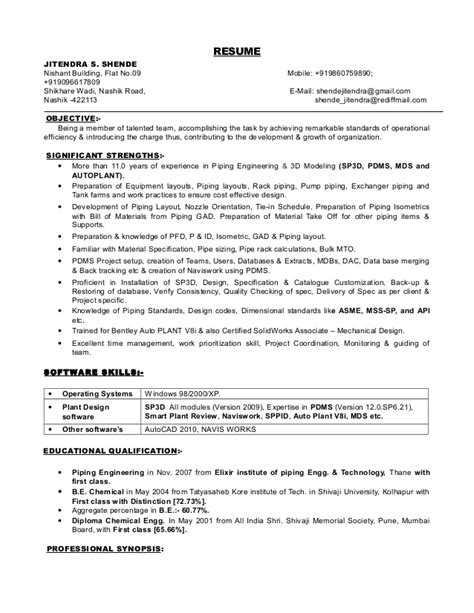 Piping Engineer Resume And Gas by Resume Of Jitendra Shende For The Post Of Piping Engineer