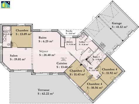maison plein pied 4 chambres plan de maison plein pied gratuit 4 chambres