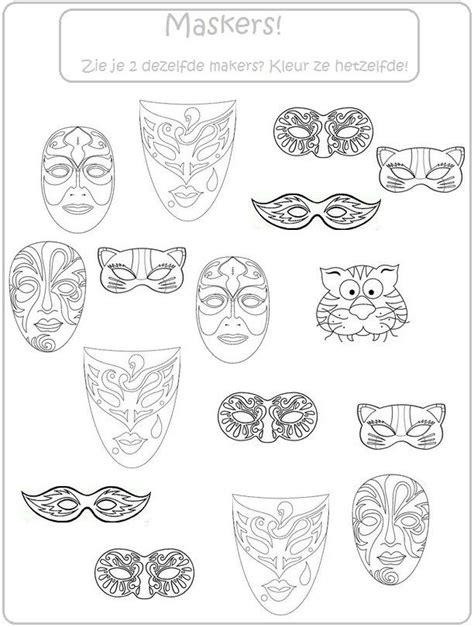 Kleurplaat Carnaval Groep 8 by Thema Carnaval Kleur Dezelfde Maskers Thema Carnaval