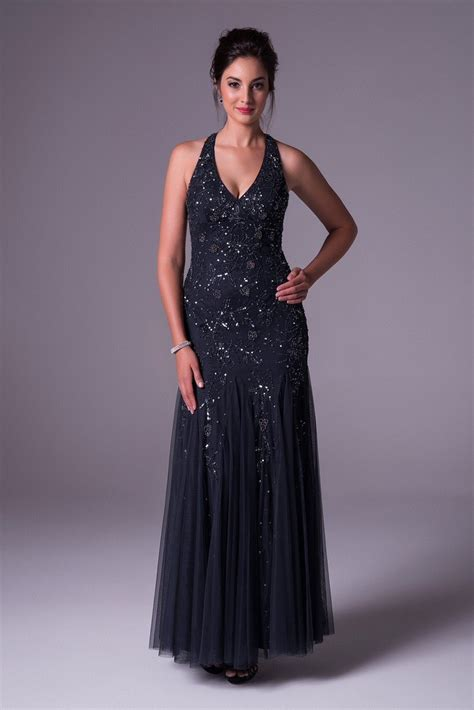 beaded  neck halter prom dress  open  wgin